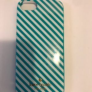 Teal blue and white Kate spade cell phone case